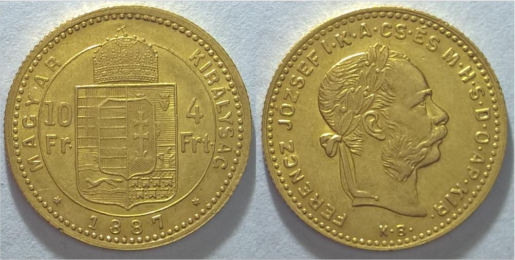 1887 Ferenc József 4 forint - 10 fr