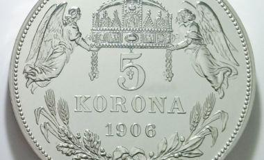 1906 5 korona ezüst pénz Ferenc József