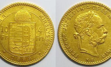 1888 Ferenc József arany pénz 4 forint - 10 fr