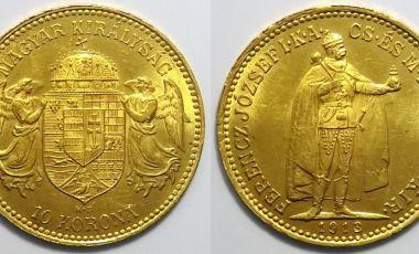 1913 10 korona aranypénz Ferenc József