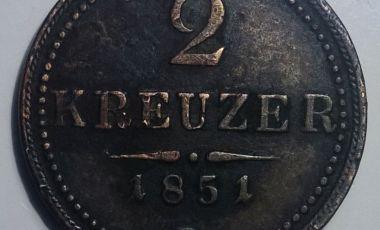 1851 2 kreuzer Ferenc József rézpénz